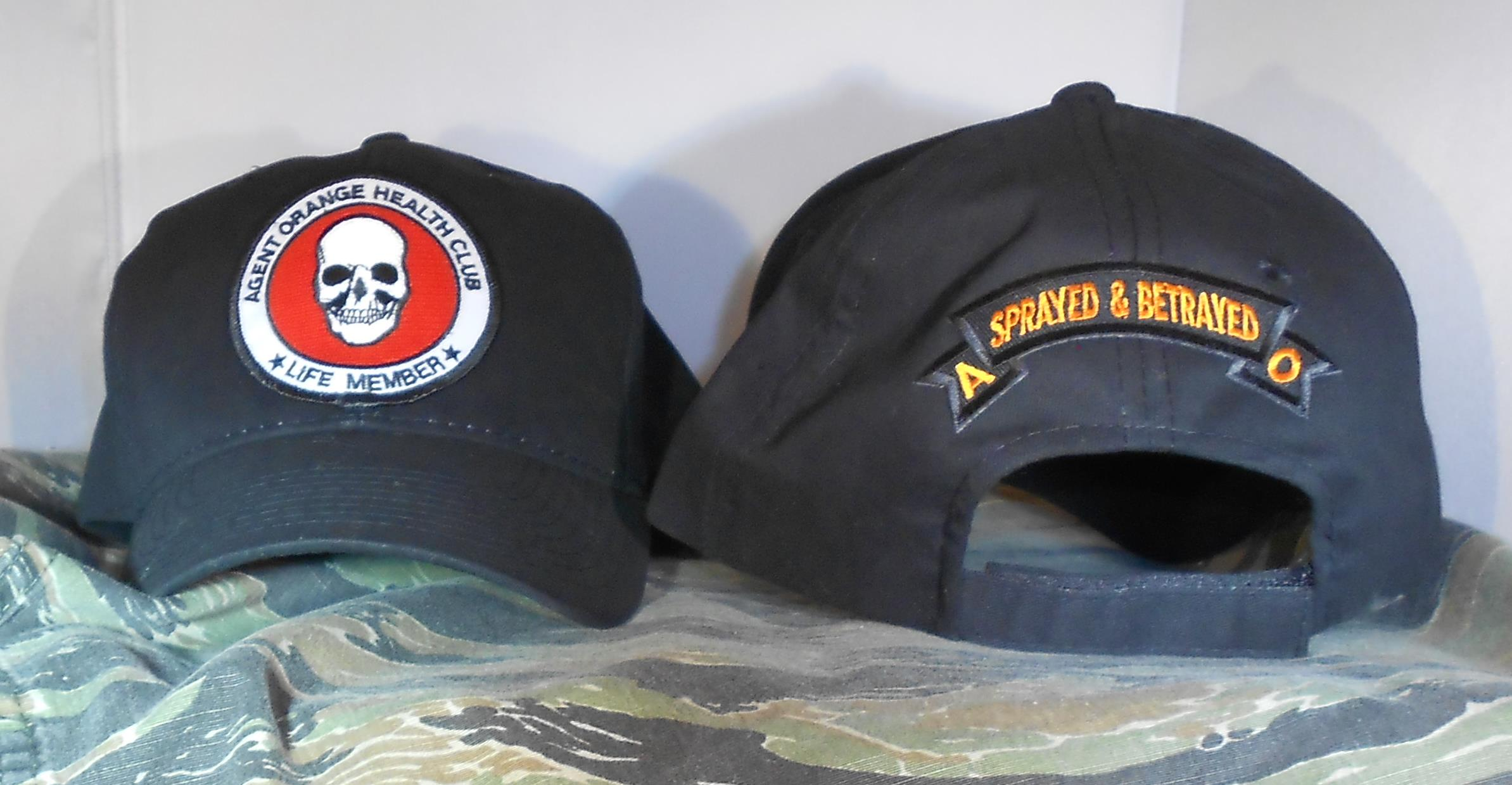 AGENT ORANGE LIFE MEMBER BLACK HATS
