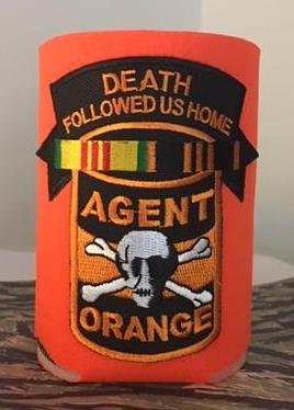DEATH FOLLOWED US HOME KOOZIE/CAN COOLER ORANGE