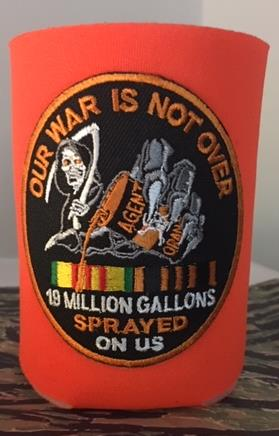 OUR WAR IS NOT OVER KOOZIE/CAN COOLER ORANGE