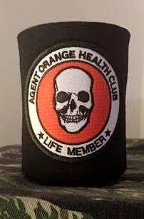 AGENT ORANGE HEALTH CLUB KOOZIE/CAN COOLER BLACK