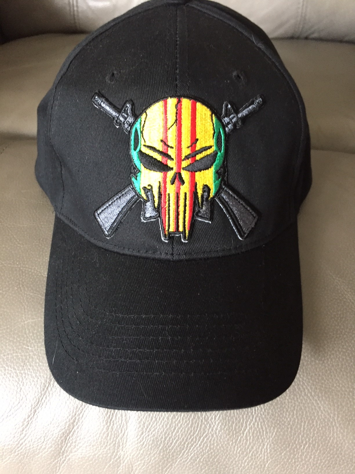 VIETNAM VETERAN PUNISHER CROSSED RIFLES BLACK HAT